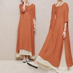 new dress for summers-Brick red layered summer dress long linen maxi dresses plus size casual sundresses