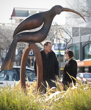 Palmerston North's Paul Dibble sculpture of Ghost of the Huia, near Square Edge