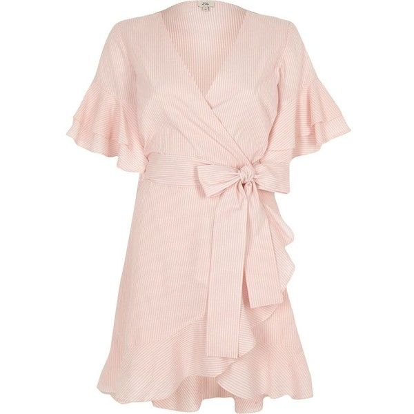 River Island Pink stripe tie waist frill wrap tea dres ($80) ❤ liked on Polyvore featuring dresses, pink, skater dresses, women, tea-length dresses, skater dress, pink mini dress, wrap dress and mini dress