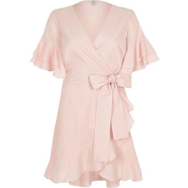 River Island Pink stripe tie waist frill wrap tea dres ($80) ❤ liked on Polyvore featuring dresses, pink, skater dresses, women, mini dress, bell sleeve dress, striped dresses, short pink dress and short wrap dress
