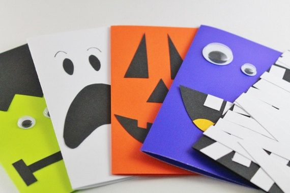 Items similar to Handmade Halloween Cards...halloween gift tags, mummy, pumpkin, scary faces on Etsy