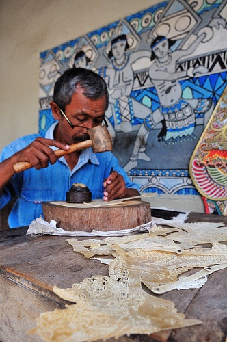 Wayang Maker (Shadow Puppet) - aking of Wayang (Shadow Puppet), Yogyakarta, Indonesia.  MORE INFO: UNESCO designated Wayang Kulit, a shadow puppet theatre and the best known of the Indonesian wayang, as a Masterpiece of Oral and Intangible Heritage of Humanity on 7 November 2003