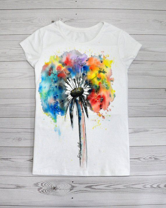 Dandelion T Shirt Colorful Flower T Shirt Hand Painted White Art