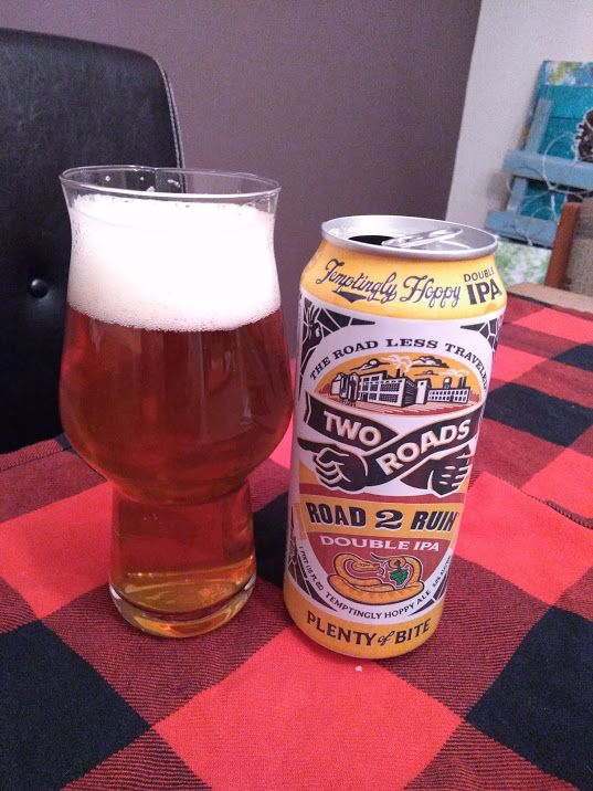 Road 2 Ruin Double IPA from Two Roads Brewing is a deceptively smooth and easy to drink pour, despite using four American hops and clocking in at 8% ABV