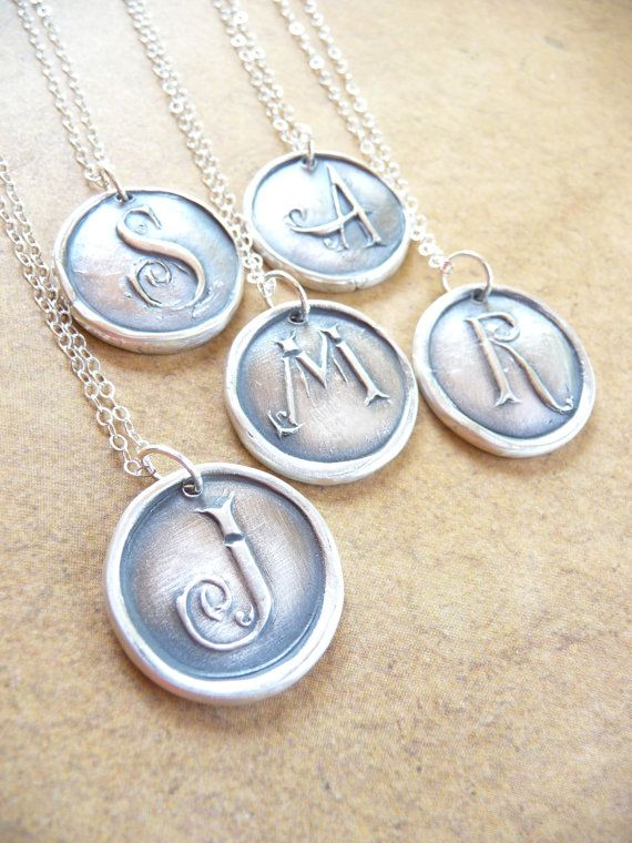146 best engraved necklaces images on pinterest wax seals initial wax seal initial monogram letter necklace pendant hand crafted from recycled fine silver in any letter of the alphabet aloadofball Gallery