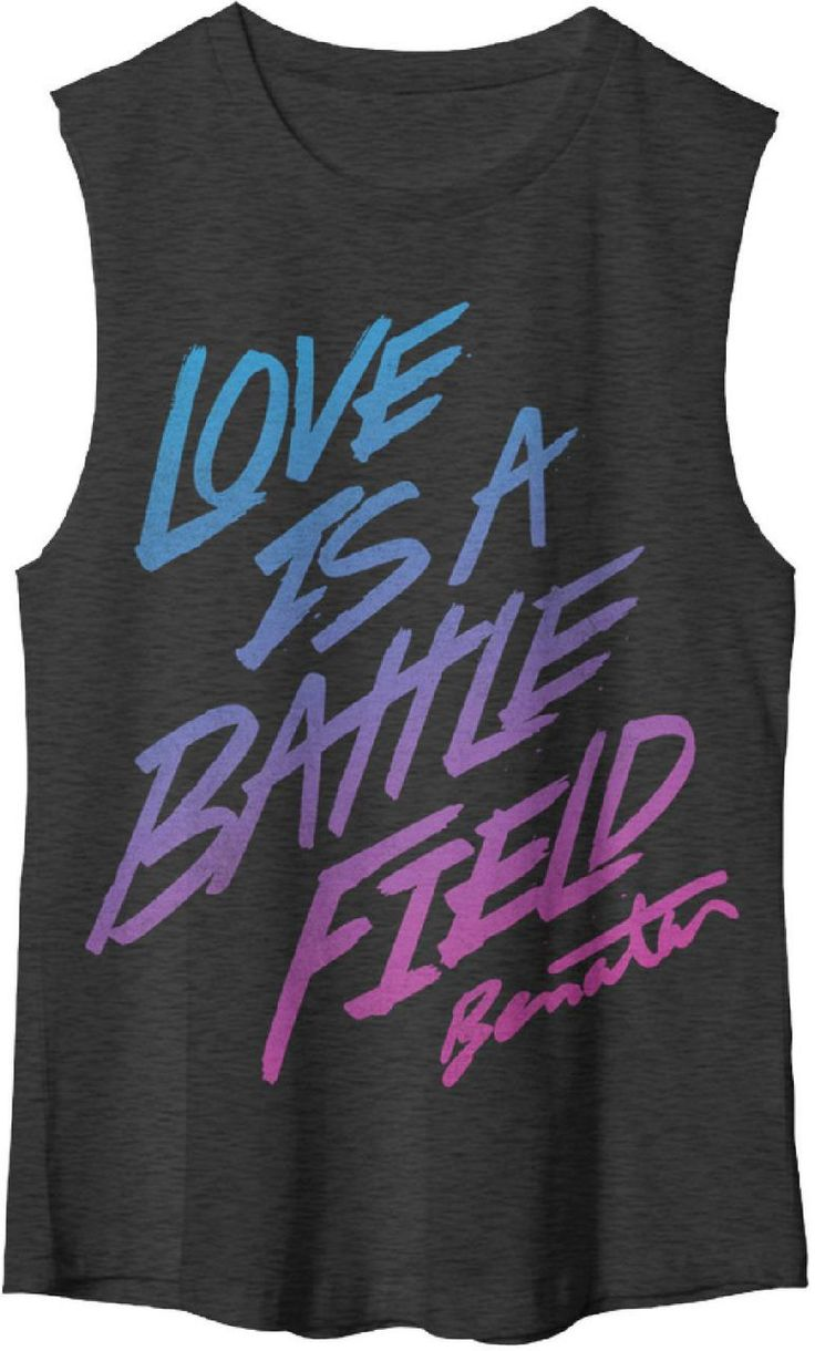 Our ladies' Pat Benatar muscle t-shirt spotlights the song title to one of Pat's biggest hits, Love is a Battlefield. Love is a Battlefield sold over a million copies and earned Pat Benatar a 1984 Grammy Award for Best Female Rock Performance. Our Love is a Battlefield tee is a 1980s' retro style sleeveless 100% black cotton shirt with eighties inspired graphics and font colors spotlighting both the Pat Benatar and Love is a Battlefield name and song title. #patbenatar #rockerrags