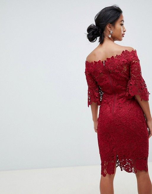 dfe85c04a41a Paper Dolls Petite   Paper Dolls Petite off shoulder crochet midi dress  with frill sleeve in oxblood