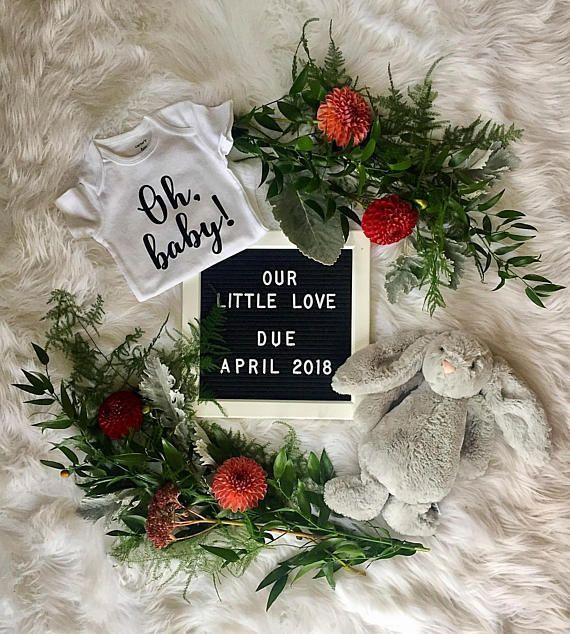 Oh baby! | Pregnancy announcement onesie, gender reveal onesie baby bodysuit, adoption bodysuit, IVF or rainbow new baby reveal outfit by Little Bird Basics on Etsy. #pregnancyannouncementonesie,