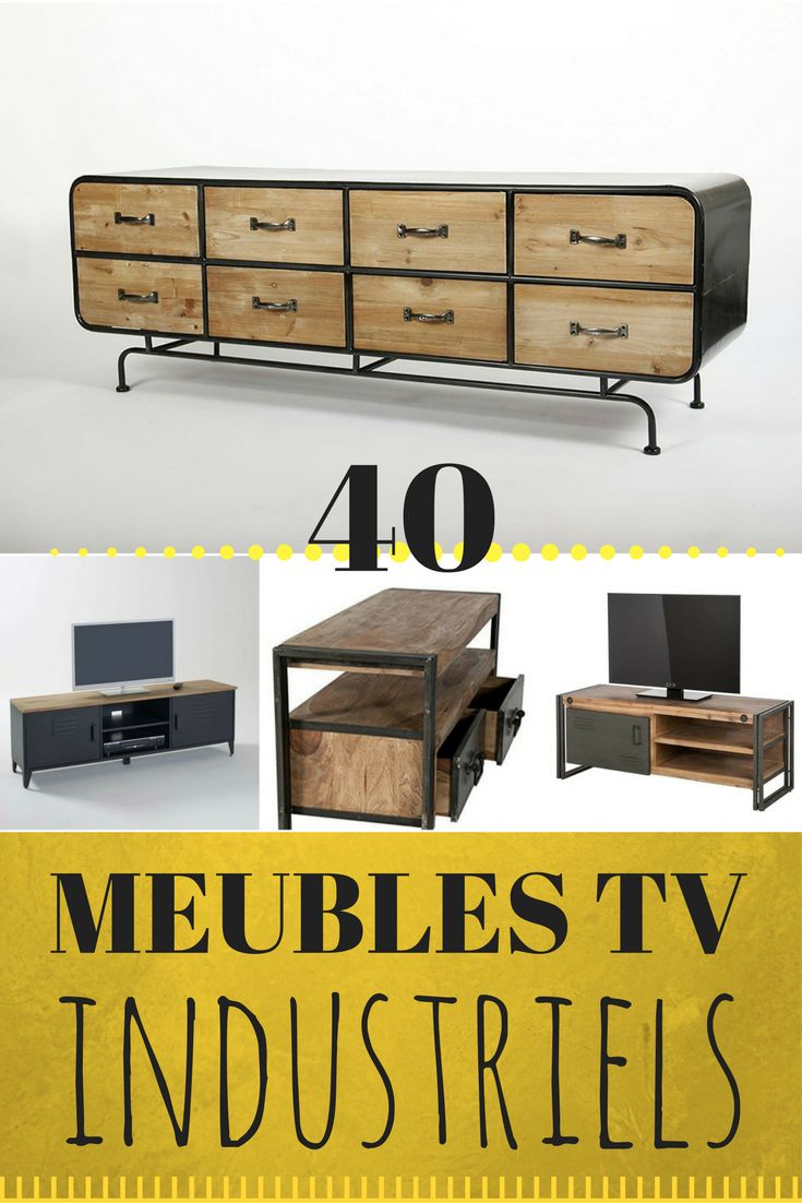 9 Best Mobilier Industriel Images On Pinterest # Meuble Tv Support Mural
