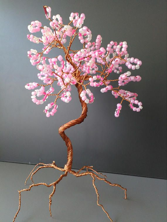 Pink tree pearls tree wire copper tree sculpture beaded
