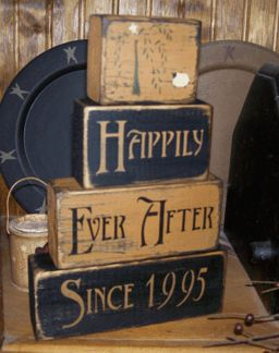 HAPPILY EVER AFTER  SINCE....PRIMITIVE CUSTOM BLOCK SIGN SIGNS
