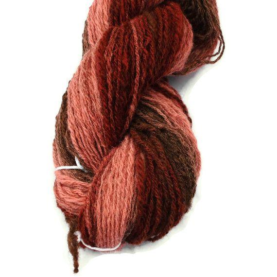Handspun, Hand Dyed DK Weight Wool Yarn, 3-ply n-ply Self Striping yarn.