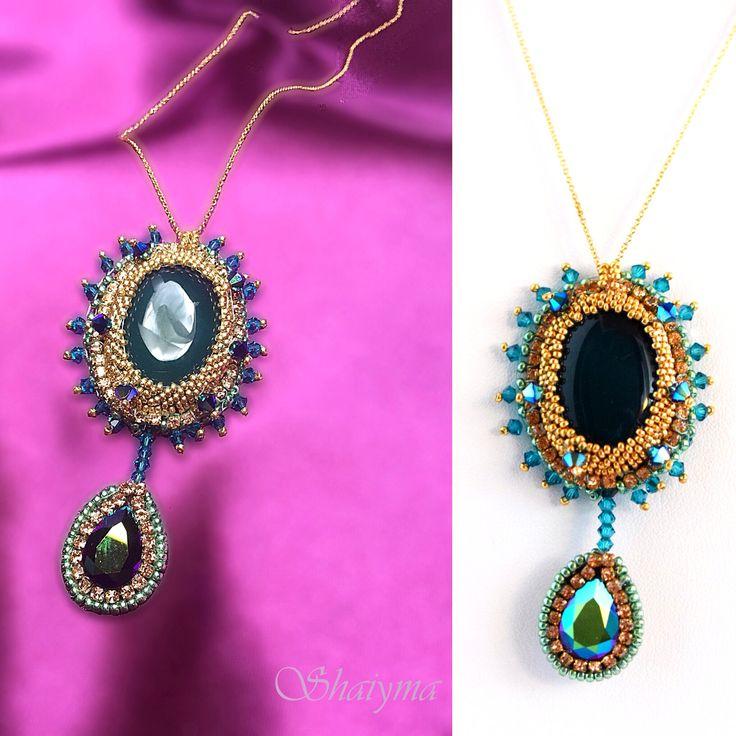 Pendentif onyx vert  Perles et chaînes dorées Goldplated  Fabrication artisanale pièce unique