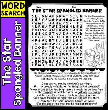 The Star Spangled Banner: How about discussing the The Star Spangled Banner with your students. Students may sing the national anthem for the United States or hear it sung at important events, but do they really know what the words mean?
