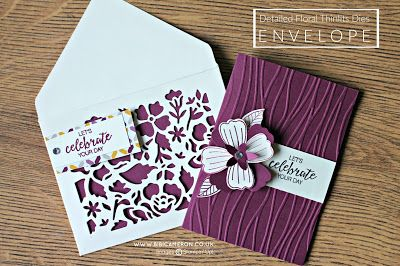"Detailed Floral Thinlits dies Stampin Up envelope. make it with a big shot plus or your Stampin Up die cutting machine ( paper 6""x6"" score at 2 -3/8"")"
