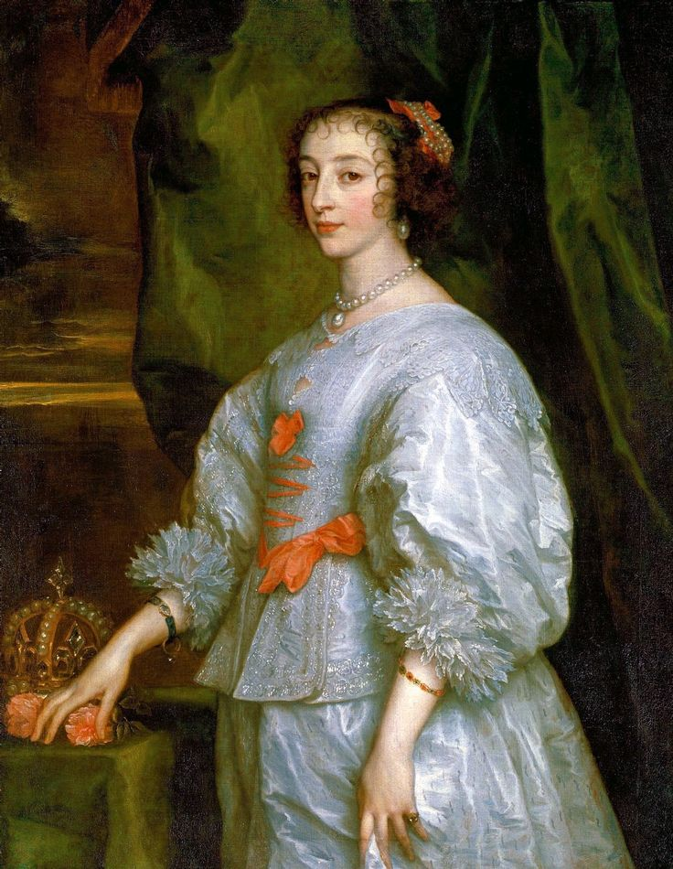 Princess Henrietta Maria of France, Queen consort of England. This is the first portrait of Henrietta Maria painted by Anthony van Dyck in 1632.