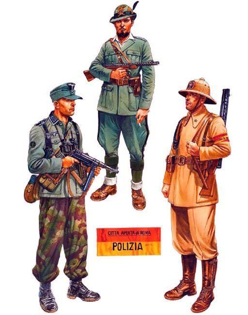 Autumn/Winter 1943 • Unteroffizier, II/3 Brandenburg Regiment, central Italy  • Ex-Italian Army officer partisan, northern Italy  • Guardia, Polizia dell'Africa Italiana, Rome