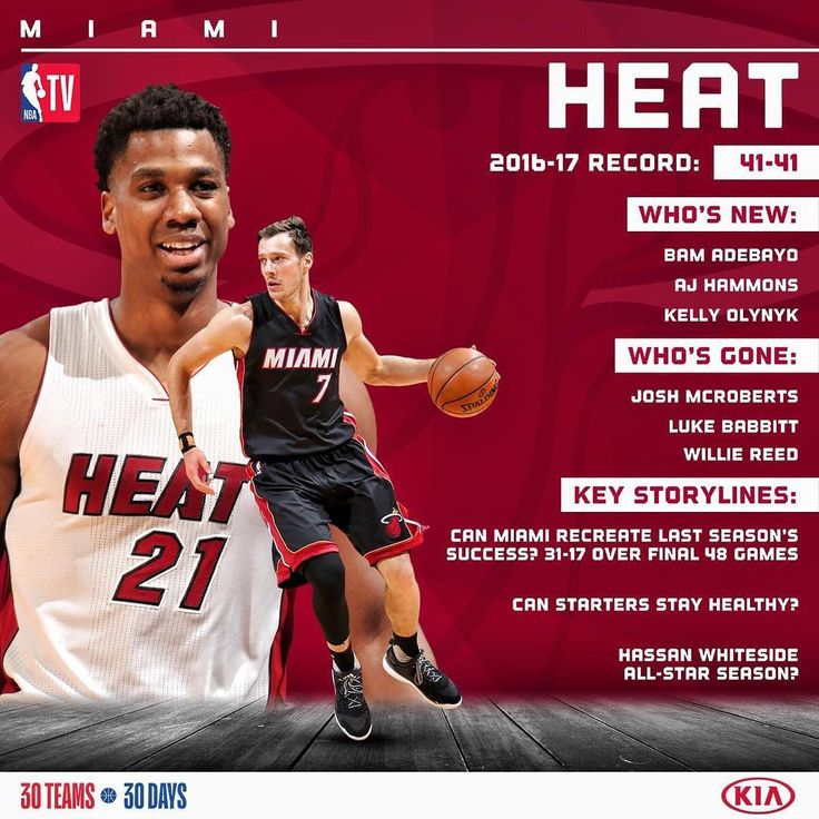 """""""Hassan Whiteside and the @MiamiHEAT look to make a push for the playoffs in the East. #KiaTipOff17"""""""