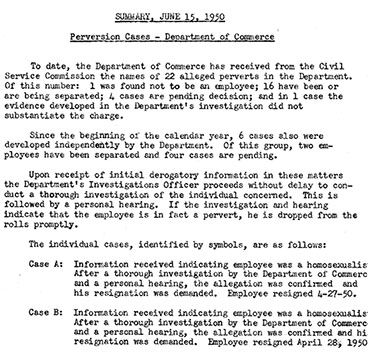 An excerpt from the Commerce Department's response to the Hoey committtee. Many employees confronted with charges of homosexuality chose to resign. (Records of the U.S. Senate, RG 46)