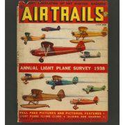 1938 Vintage aviation airplane magazine cover artwork.