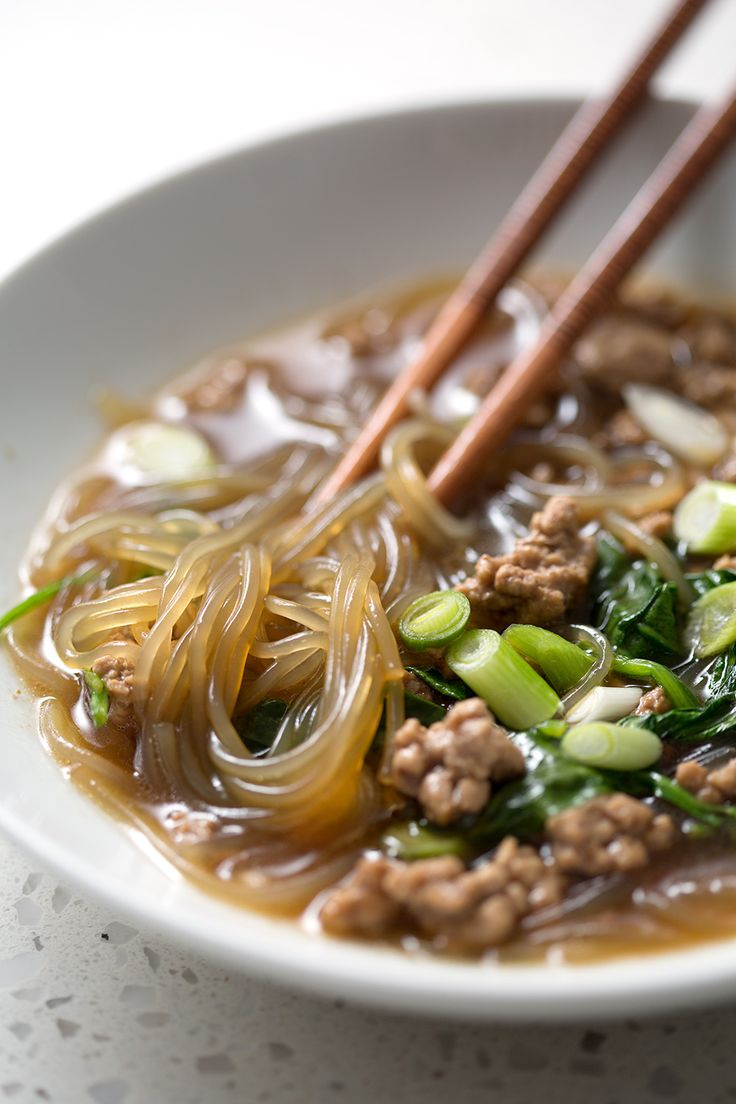 Asian Pork and Noodle Soup is a great way to celebrate the Lunar New Year or just for a fast and flavorful weeknight meal. It's totally AIP/Paleo and can easily be made in less than 30 minutes.