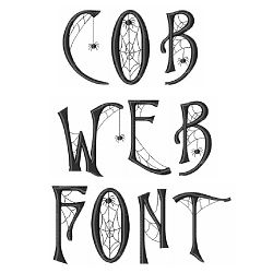"""Cob Web Font, Inspiration for stamping a """"welcome, foolish mortals"""" sign for my entry way."""