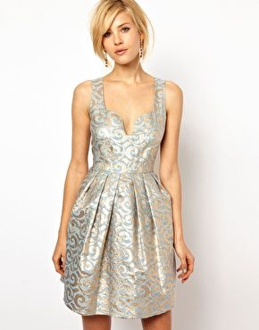 """Metallic jacquard dress with that adorable neckline and full skirt? You had me at """"jacquard"""""""