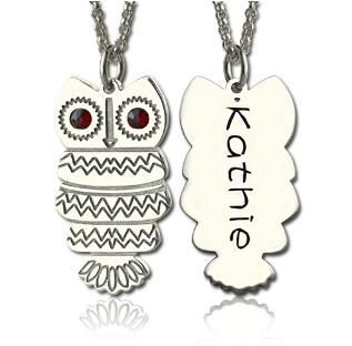 Owl Name Necklace with Birthstones