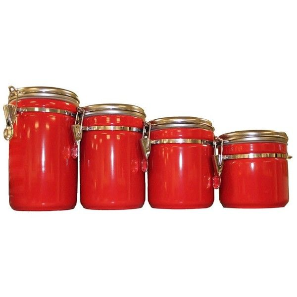 Anchor Hocking 4-piece Red Ceramic Canister Set (42 AUD) ❤ liked on Polyvore featuring home, kitchen & dining, food storage containers, red, red canisters, ceramic food storage containers, sugar canister, 4 piece ceramic canister set and red canister set