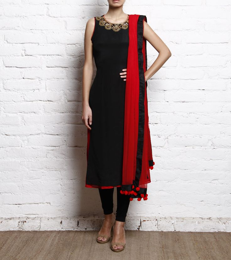 Black & Red Embroidered Crepe Churidar Suit #indianroots #ethnicwear #churidarsuit #crepe #embroidered #occasionweaer #eveningwear #summerwear