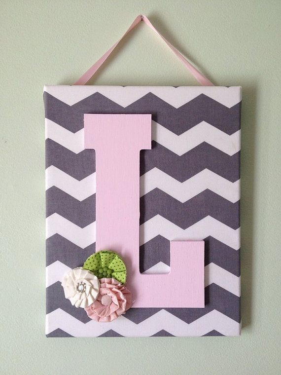 Girls Chevron Canvas Initial Decor by DopfelDesigns on Etsy. I think I could make this.
