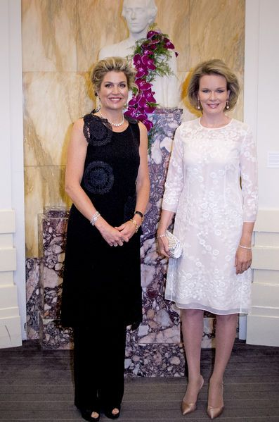 Queen Maxima of The Netherlands and Queen Mathilde of Belgium attend the finals of the Queen Elisabeth piano competition in Palace of Fine Arts in Brussels