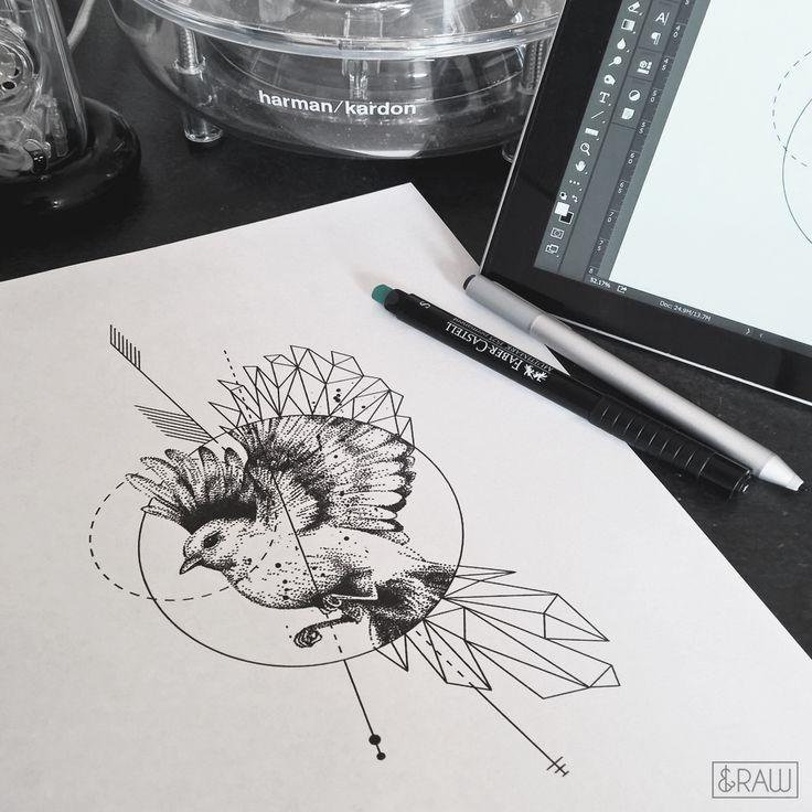 Geometric dotwork bird animal tattoo design / custom design for Jenny / Requests and designs: Skinque.com