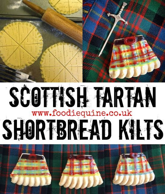 www.foodiequine.co.uk A no bake biscuit treat which is ideal for any Scottish celebration be it Hogmanay, Burns Night or St Andrews Day. Decorate petticoat tails shortbread with wrirting icing to design your very own clan tartan on these Shortbread Kilts.