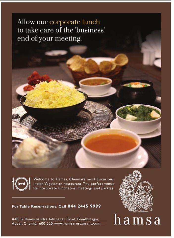 Hamsa Vegitarian Restaurant Ad Chennai Times Check Out More Hotels Restaurants Advertisement Advertisement Collection At Restaurant Ad Vegetarian Restaurant