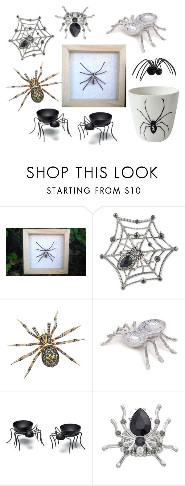 """""""Spiders everywhere!!"""" by monika-przymuszala ❤ liked on Polyvore featuring interior, interiors, interior design, home, home decor, interior decorating, Anne Klein, Elements, Avon and Pottery Barn"""