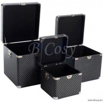 J-Line Set van 3 vierkante koffers in zwart kunstleder 45