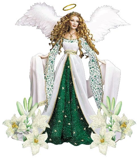 angel in green and white