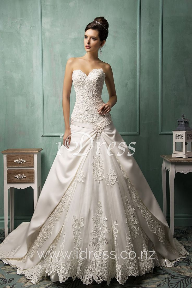 Junoesque Sweetheart Strapless Lace Bodice A-line Lace-up Back Wedding Dress
