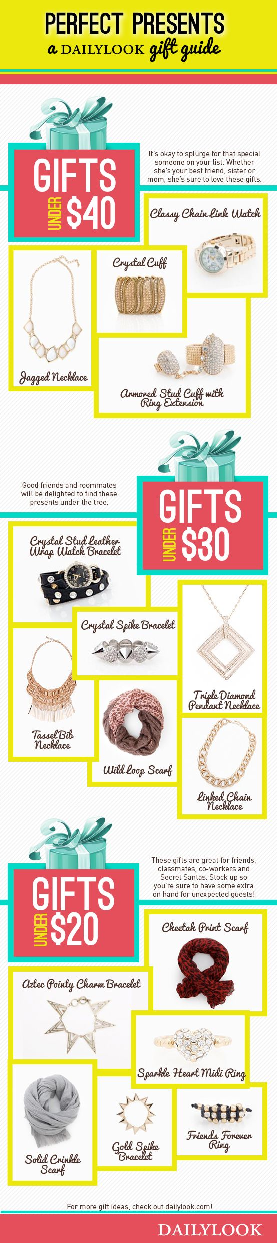 Perfect Presents: A DailyLook Gift Guide. Click the image link to shop these gifts! @dailylook #dailylook #dailylooksugarandspice
