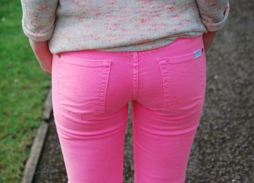 7 for all mankind neon pink jeans...would look great if my ass wasn't so big. jealous of those that can pull these off <3