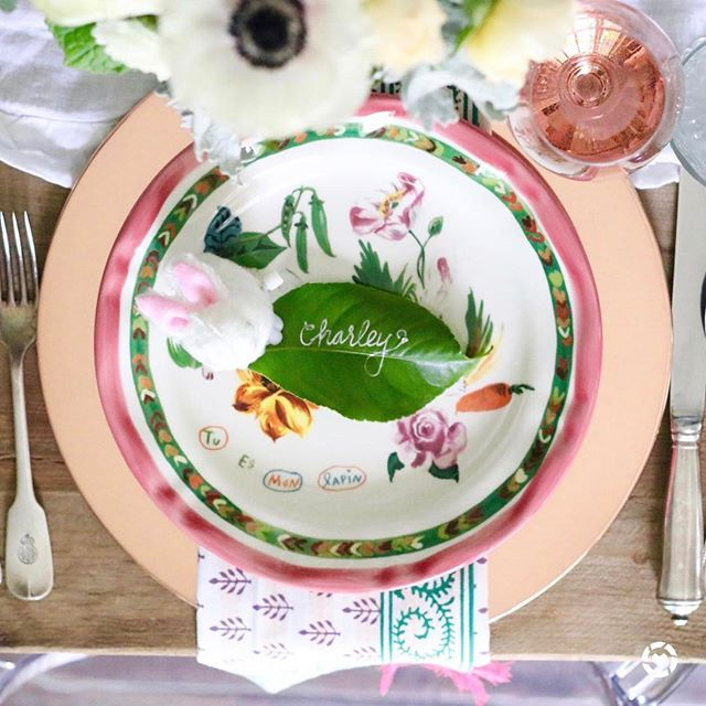 Happy Easter  the table is set for brunch today, used leaves from the garden to add a personal touch to each setting! And don't worry, that's just juice in Charley's glass  Screenshot or 'like' this pic to shop the products from