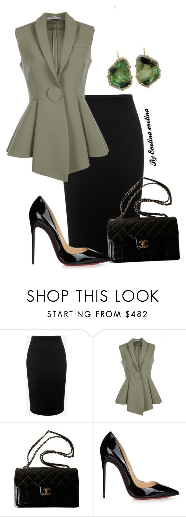 """EVE"" by evelina-er ❤ liked on Polyvore featuring Alexander McQueen, Givenchy, Chanel, Christian Louboutin and Sylva & Cie"