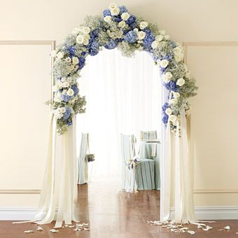 Brides Magazine: Wedding Color Scheme: Blue and Cream