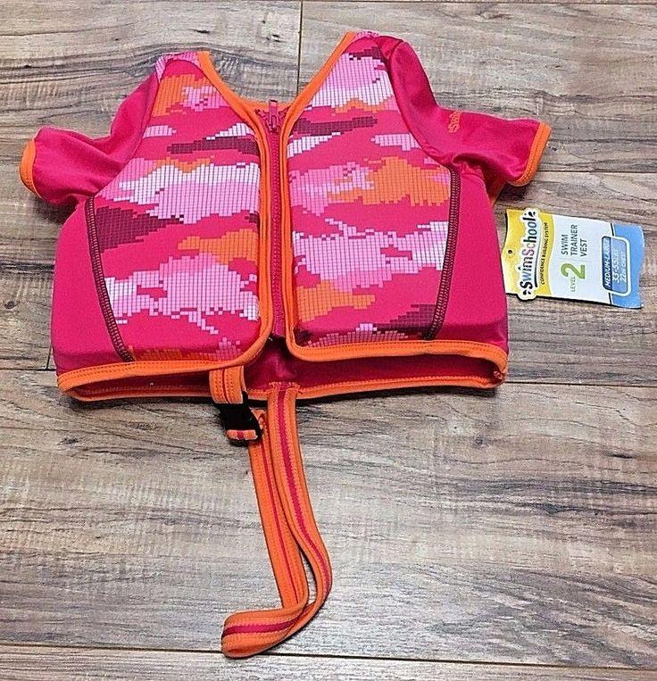 NWT Aqua Leisure SwimSchool Lvl 2 Girls Pink Swim Trainer Vest M/L 33-55 lbs  | eBay