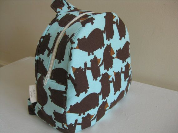 'I heart #littlefawndesigns'  Bears in a line Toddler Backpack Preschool by LittleFawnDesigns, $35.00