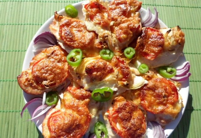 Sajtos-paradicsomos csirkemell