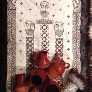 Instagram photo by ingerhildekeramiker - Vikingfell sydd av 3 vildsauskinn med motiver fra Oseberg funnene. Krukker laget etter funn fra ulike vikinggraver#viking#krukker#skinnfell#vildsau