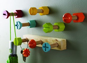 I love these for a robot-themed bedroom.. by The Little Boy's Room (not a fan of the name but love the hooks)