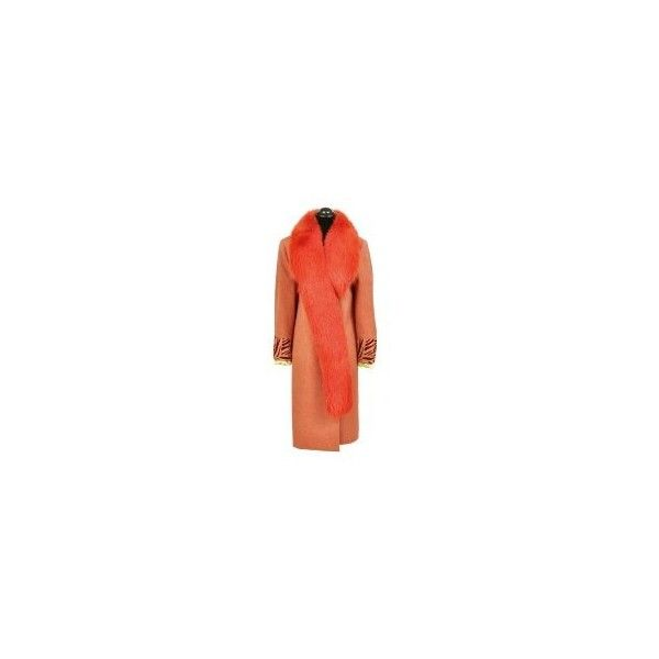 Gianni Versace Couture Coat with Fox Fur ❤ liked on Polyvore featuring outerwear, coats, red fox fur coat, versace, versace coat, red coat and fox fur coat